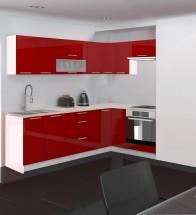 Emilia - Kuchyňa rohová, 250/150 L (červená, travertín svetlý)