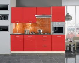 Emilia - Kuchynský blok 240 cm (červená lesk)