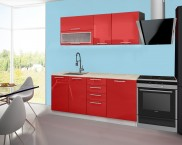Emilia - Kuchynský blok A, 180 cm (červená, PD travertín svetlý)