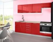 Emilia - Kuchynský blok A, 240 cm (červená, PD travertín svetlý)