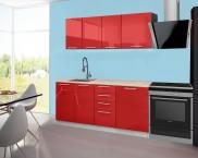 Emilia - Kuchynský blok B, 180 cm (červená, PD travertín svetlý)