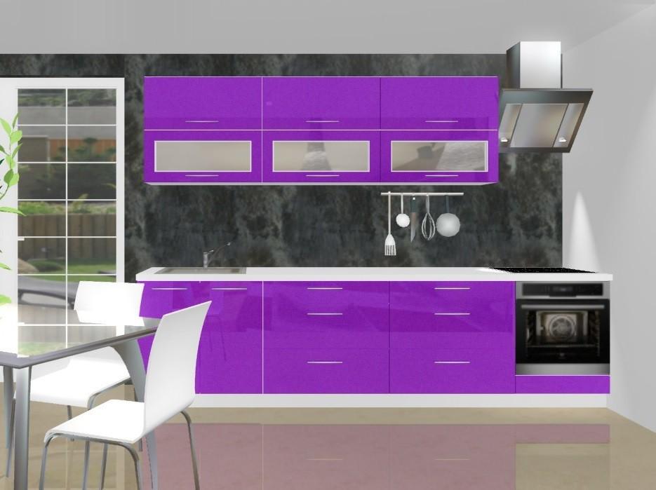 Emilia - Kuchynský blok B pre vstavanú rúru, 3 m (fialová lesk)