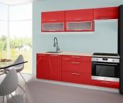 Emilia - Kuchynský blok C, 220 cm (červená, PD travertín svetlý)