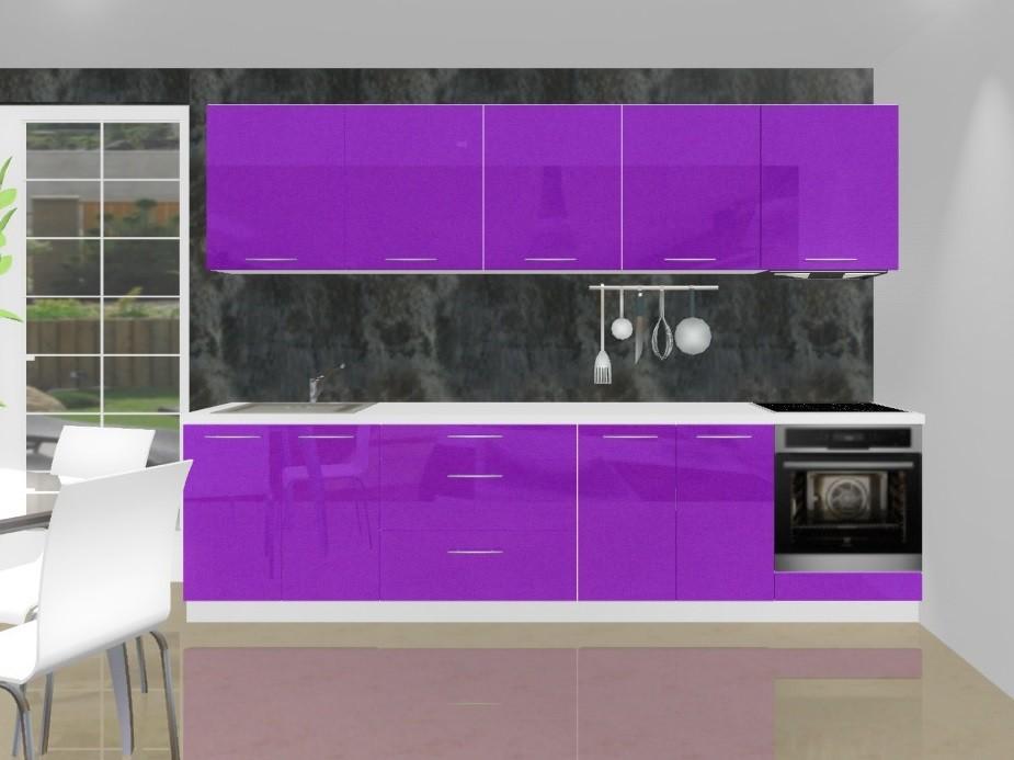 Emilia - Kuchynský blok K pre vstavanú rúru, 3 m (fialová lesk)