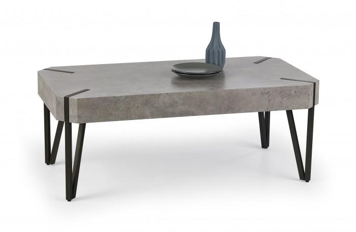 Emily - konferenčný stolík beton, černý (beton/čierná)
