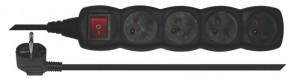 EMOS predlžovací kábel, vypínač, 5m, 4 zásuvky, čierny