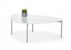 Erika - Konferenčný stolík (biela sklo, chromové nohy)