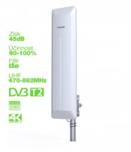 EVOLVEO HDO, aktívna vonkajšia DVB-T/T2 anténa, 45dB OBAL POŠKODE