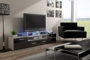 Evora - TV stolík (biela/čierna lesk)