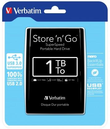 """Externé HDD disky Verbatim Store 'n' Go 1TB/Externí/USB 3.0/2,5""""/Black (53023)"""