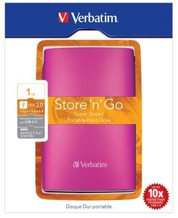 "Externý disk VERBATIM Hard Drive 2,5"" 1TB USB 3.0 jasně růžový - 53073"