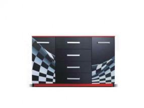 F1 carbon - Komoda (F1 carbon, 2x dvere, 4x zásuvka)
