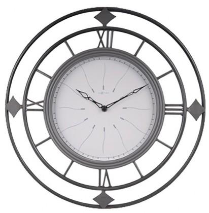 Fence - hodiny, nástenné, guľaté (kov, sklo, čierne)