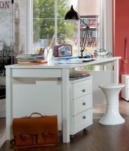 Filou - Pracovný stôl, mobilný regál (alpská biela)