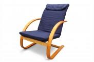 Fiori - Kreslo relaxačné (čerešňa / modré plátno)