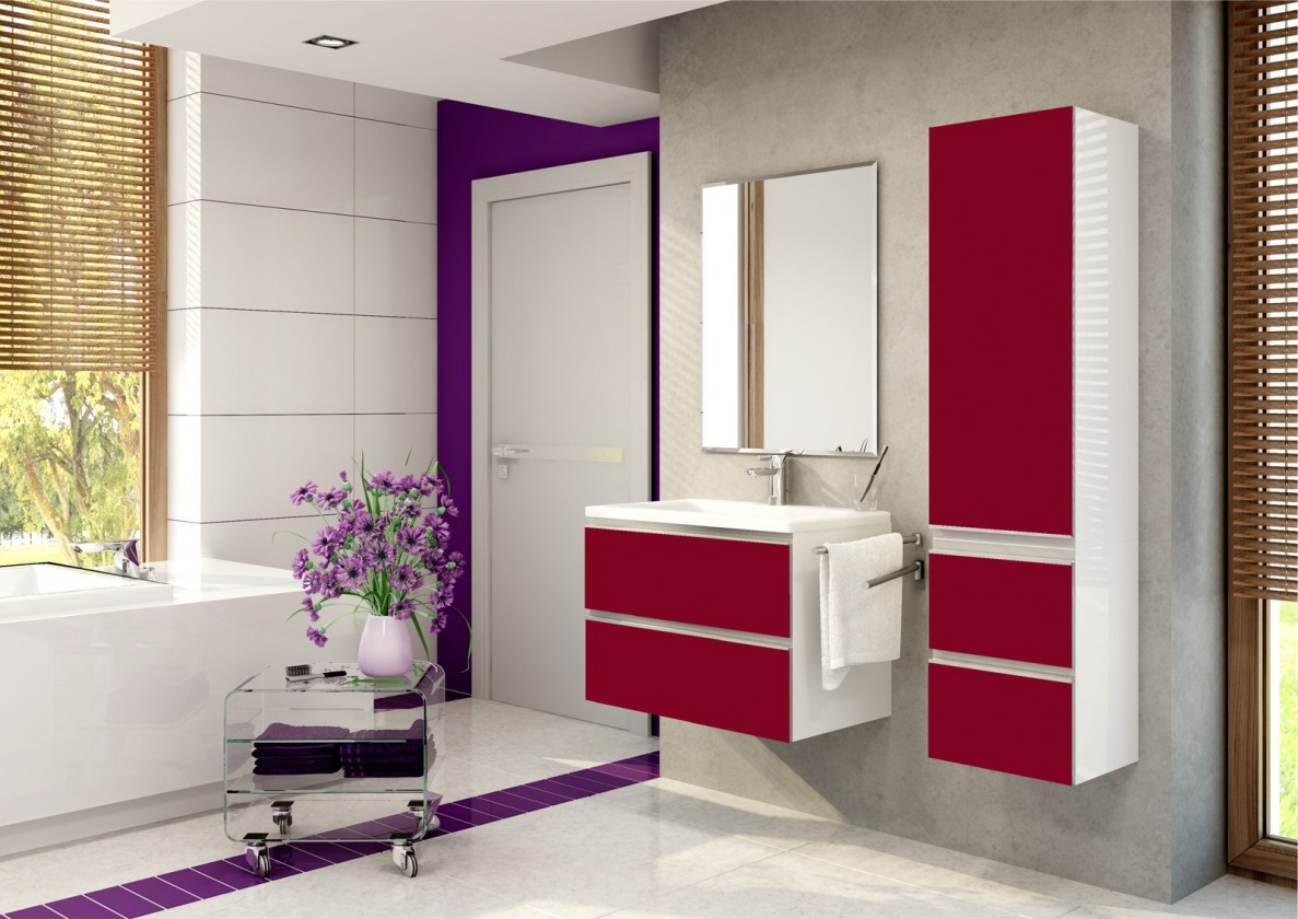 Firenze - Kúpelňová zostava (burdeos,boky biele)