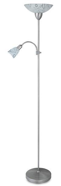 Flower - Lampa,E27 (bílý vzor/hodvábne lesklá chromová)
