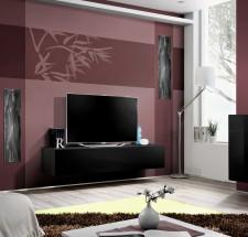 Fly - RTV, 1x dvere, 3x roz (čierny mat/čierny lesk)