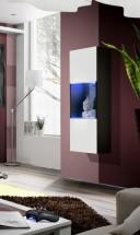 Fly - vitrína, 2xpolica, 2x úl.pr., LED (čierny mat/biely lesk)