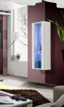 Fly - vitrína, 2xpolica, LED (biely mat/biely lesk)