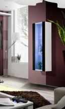 Fly - vitrína, 2xpolica, LED (biely mat/čierny lesk)