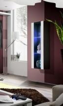 Fly - vitrína, 2xpolica, LED (čierny mat/biely lesk)