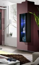 Fly - vitrína, 2xpolica, LED (čierny mat/čierny lesk)