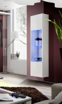 Fly - vitrína, 3x polica, 2x úl.pr., LED (biely mat/biely lesk)