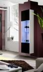 Fly - vitrína, 3x polica, 2x úl.pr., LED (biely mat/čierny lesk)