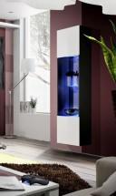Fly - vitrína, 3x polica, 2x úl.pr., LED (čierny mat/biely lesk)