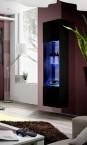 Fly - vitrína,3x polica, 2x úl.pr., LED (čierny mat/čierny lesk)