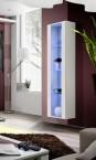 Fly - vitrína, 3x polica, LED (biely mat/biely lesk)