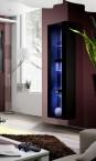 Fly - vitrína, 3x polica, LED (čierny mat/čierny lesk)