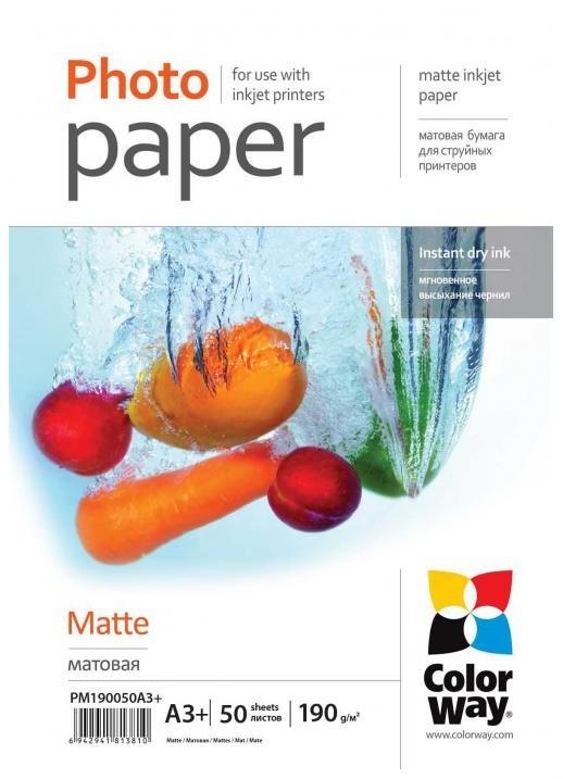 Fotopapier Colorway fotopapír matte 190g/m2, A3+/50 kusů (PM190050A3+)