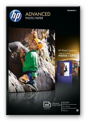 Fotopapier HP Advanced Glossy Photo Paper-100 sht/10 x 15 cm borderless,  25