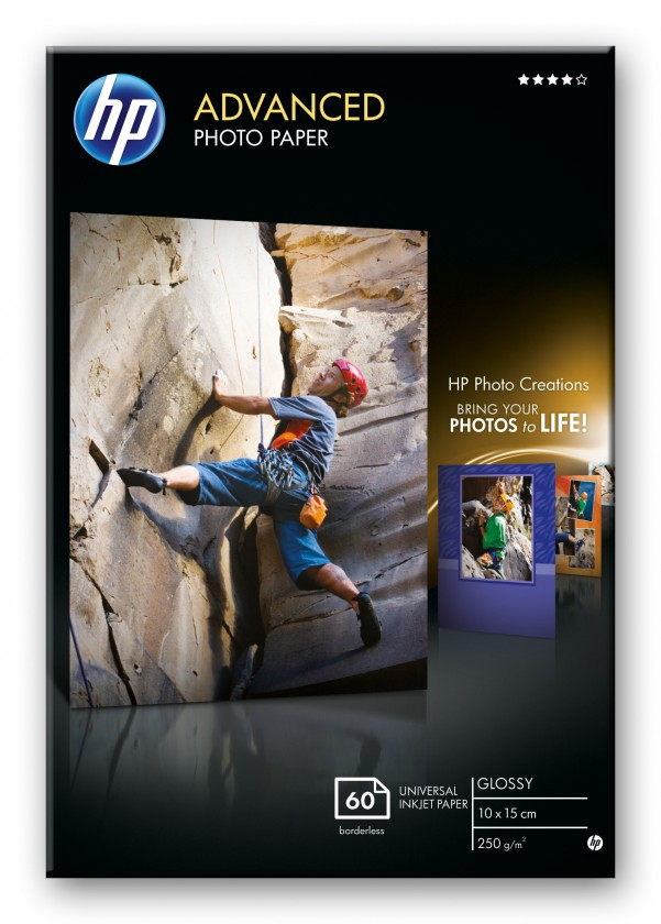 Fotopapier HP Advanced Glossy Photo Paper-60 sht/10 x 15 cm borderless, 250