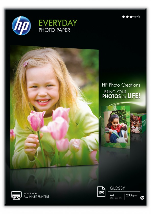 Fotopapier HP Everyday Glossy Photo Paper-100 sht/A4/210 x 297 mm, 200 g/m2,