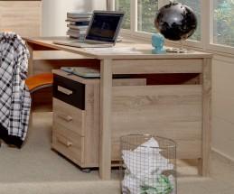 Game - Pracovný stôl, mobilné komoda (dub, čierna)