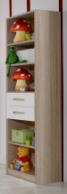 Game - Regál, 4x police, 2x zásuvka (biela, dub)
