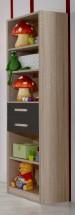 Game - Regál, 4x police, 2x zásuvka (dub, čierna)