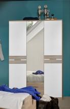 Game - Skriňa, 2 dverová, so zrkadlom a zásuvkami (biela, dub)