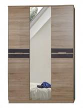 Game - Skriňa, 2 dverová, so zrkadlom (dub, čierna)