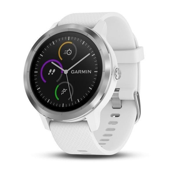 Garmin Vivo Smart hodinky Garmin VivoActive 3 Optic Silver, biely remienok