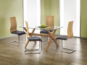 Gartner - Jedálenský stôl 140x80 cm (jelša, číre sklo)