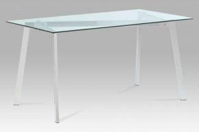 GDT - Jedálenský stôl, číre sklo/chrom (150x75x80 cm)