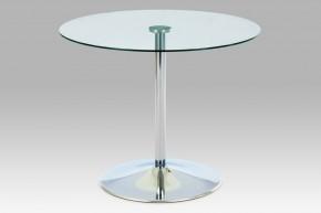 GDT - Jedálenský stôl, číre sklo/chrom (90x75x90 cm)