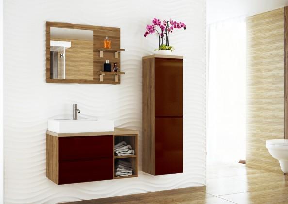Genova - Kúpelňová zostava, 1 umyvadlo (hnědá,boky tm.breza)