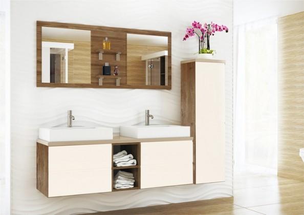Genova - Kúpelňová zostava,2 umyvadla (biela,boky tm.breza)