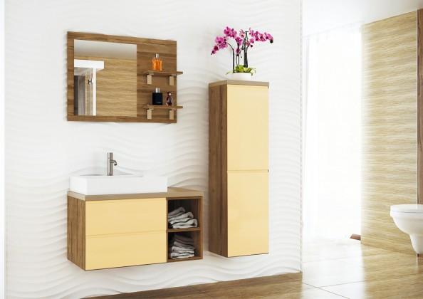 Genova-Kúpelňová zostava s umyvadlom (vanilková,boky tm.breza)