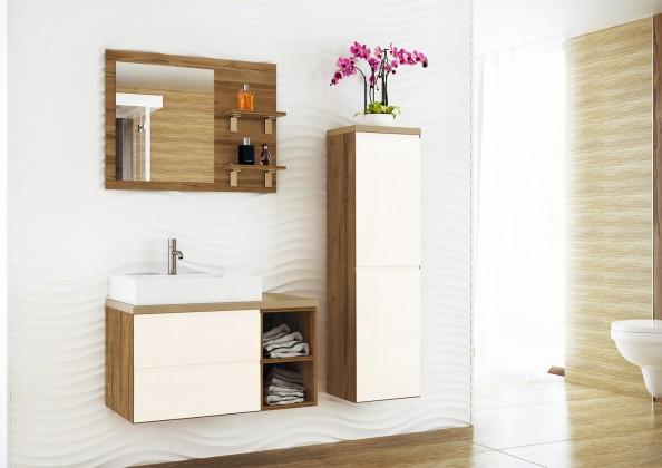 Genova - Kúpelňová zostava s1 umyvadlom (biela,boky tm.breza)